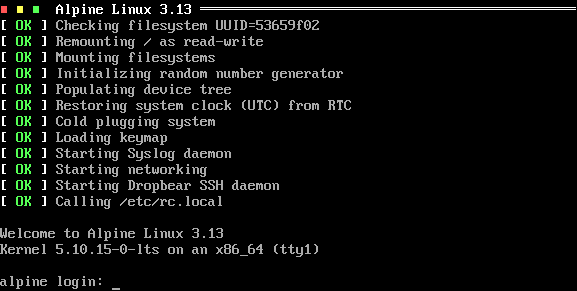 Alpine Linux started with Finit